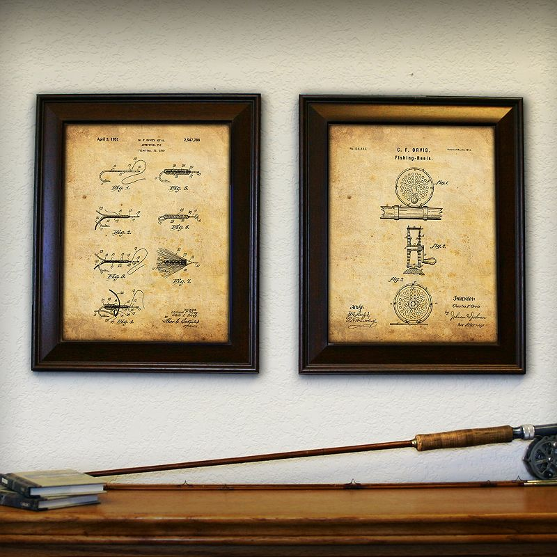 """Fly Fishing"" 2-piece Framed Wall Art Set, Brown, 14X17"