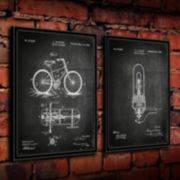 ''Edison Bulb and Cycle'' 2-piece Framed Wall Art Set