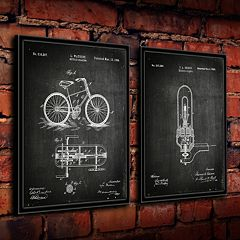 ''Edison Bulb and Cycle'' 2 pc Framed Wall Art Set