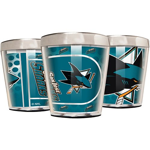 San Jose Sharks 3-Piece Stainless Steel & Acrylic Shot Glass Set