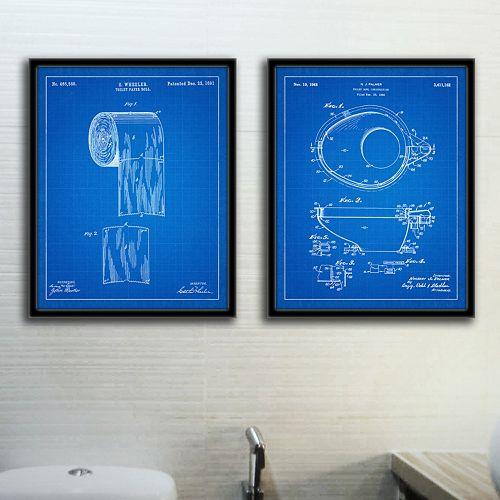 ''Bathroom'' 2-piece Framed Wall Art Set
