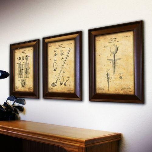 Golf 3 Piece Framed Wall Art Set