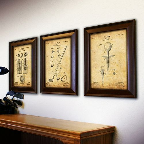 ''Golf'' 3-piece Framed Wall Art Set