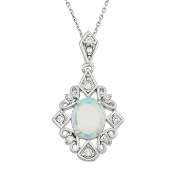 Lab-Created Opal & Cubic Zirconia Sterling Silver Filigree Pendant Necklace