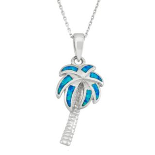 Lab-Created Blue Opal Sterling Silver Palm Tree Pendant Necklace