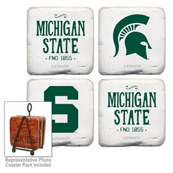 Legacy Athletic Michigan State Spartans 4-Piece Vintage Tumbled Coaster Set