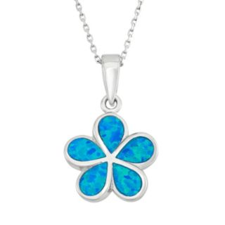 Lab-Created Blue Opal Sterling Silver Flower Pendant Necklace