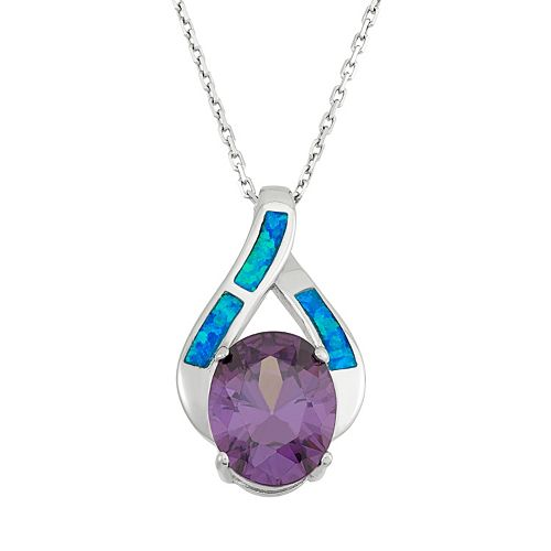 Cubic Zirconia & Lab-Created Blue Opal Sterling Silver Teardrop Pendant Necklace