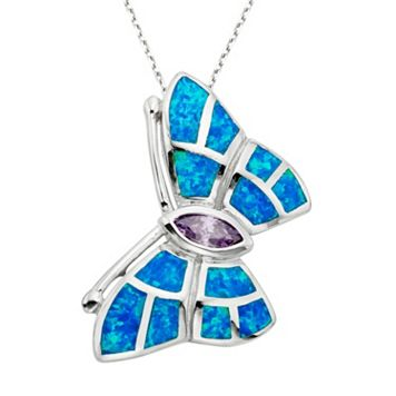 Lab-Created Blue Opal & Cubic Zirconia Sterling Silver Butterfly Pendant Necklace
