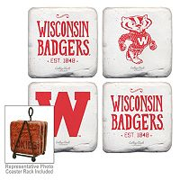 Legacy Athletic Wisconsin Badgers 4-Piece Vintage Tumbled Coaster Set