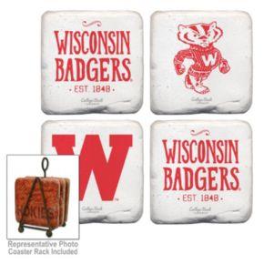 Legacy Athletic Wisconsin Badgers 4-Piece Vintage Tumbled Coaster Set