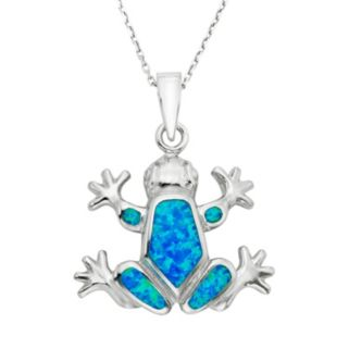 Lab-Created Blue Opal Sterling Silver Frog Pendant Necklace