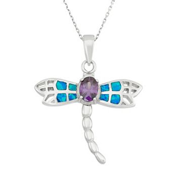 Cubic Zirconia & Lab-Created Blue Opal Sterling Silver Dragonfly Pendant Necklace