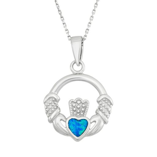 Lab-Created Blue Opal Sterling Silver Claddagh Pendant Necklace