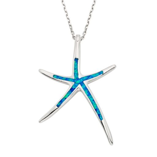Lab-Created Blue Opal Sterling Silver Starfish Pendant Necklace