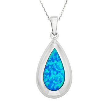 Lab-Created Blue Opal Sterling Silver Teardrop Pendant Necklace