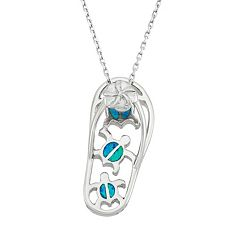 Lab-Created Blue Opal Sterling Silver Turtle & Flip-Flop Pendant Necklace