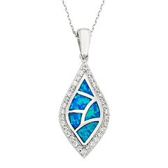 Lab-Created Blue Opal & Cubic Zirconia Sterling Silver Mosaic Marquise Pendant Necklace
