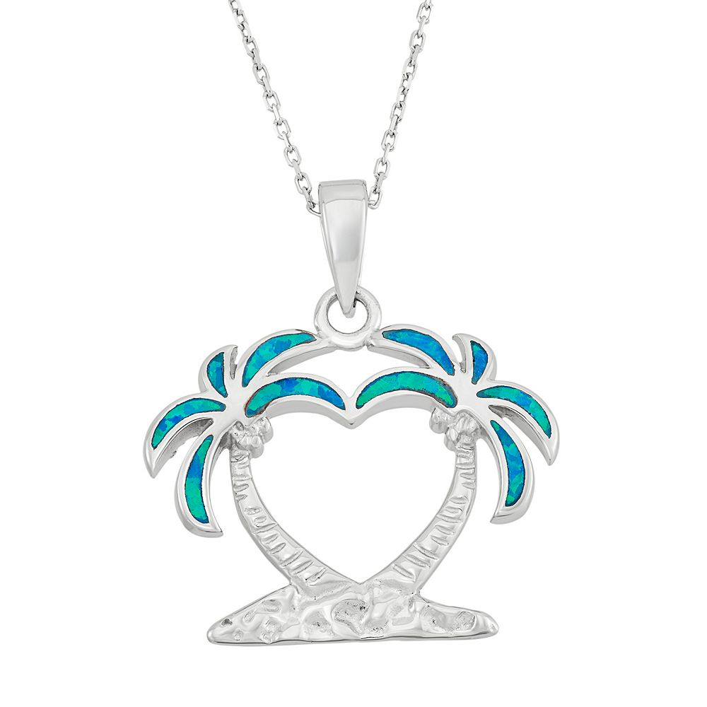 Created blue opal sterling silver heart palm tree pendant necklace lab created blue opal sterling silver heart palm tree pendant necklace mozeypictures Gallery