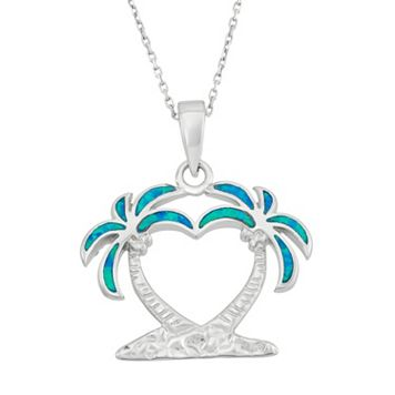 Lab-Created Blue Opal Sterling Silver Heart & Palm Tree Pendant Necklace