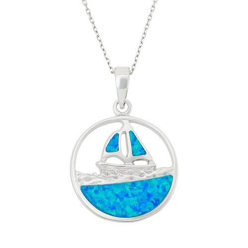 Lab-Created Blue Opal Sterling Silver Sailboat Pendant Necklace