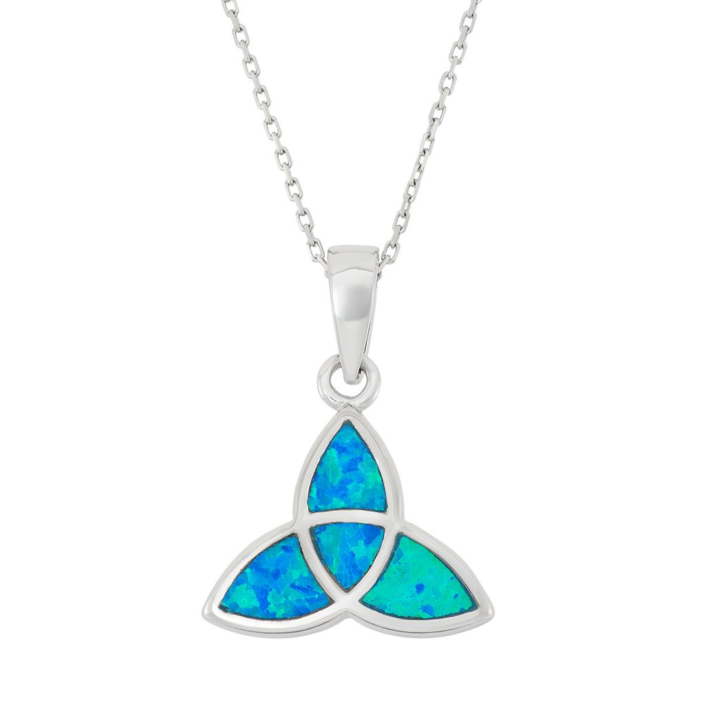 Lab-Created Blue Opal Sterling Silver Celtic Knot Pendant Necklace