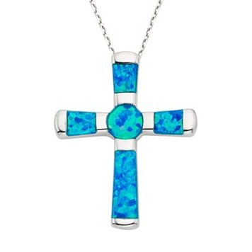 Lab-Created Blue Opal Sterling Silver Cross Pendant Necklace