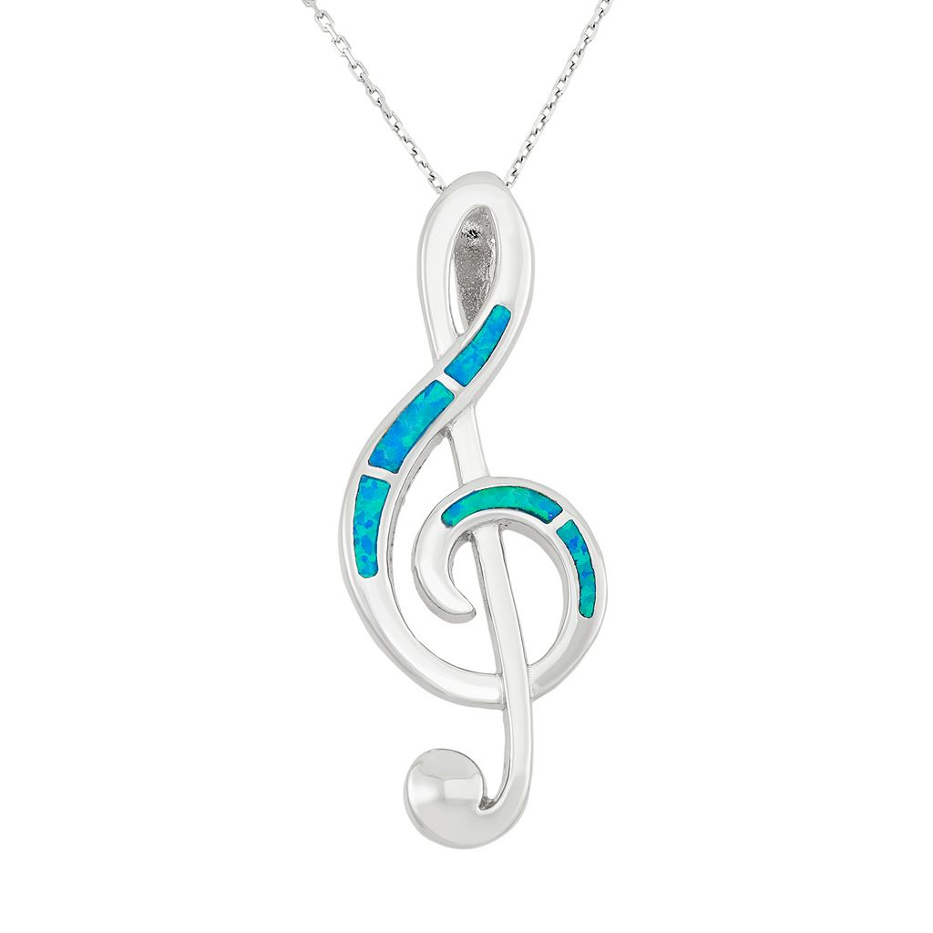 Lab-Created Blue Opal Sterling Silver Treble Clef Pendant Necklace