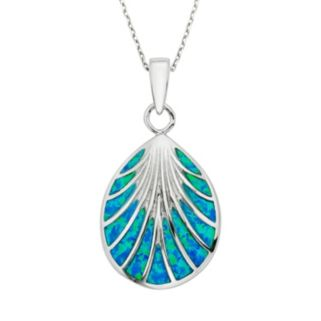 Lab-Created Blue Opal Sterling Silver Seashell Pendant Necklace