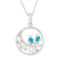 Lab-Created Blue Opal Sterling Silver Birds Pendant Necklace