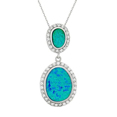 Lab-Created Blue Opal & Cubic Zirconia Sterling Silver Oval Pendant Necklace