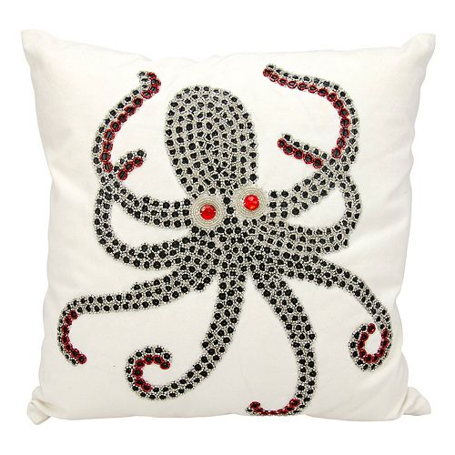 Mina Victory Beaded Octopus Outdoor Throw Pillow
