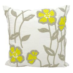Mina Victory Beaded Floral Outdoor Throw Pillow