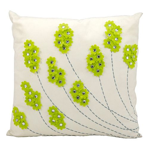 Mina Victory Floral Jeweled Outdoor Throw Pillow