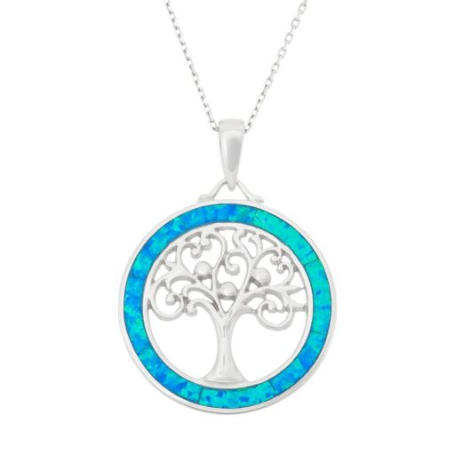 Lab-Created Blue Opal Sterling Silver Tree of Life Circle Pendant Necklace