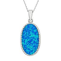 Lab-Created Blue Opal Sterling Silver Oval Pendant Necklace