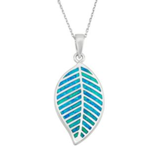Lab-Created Blue Opal Sterling Silver Leaf Pendant Necklace