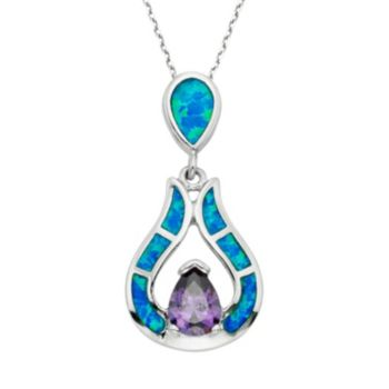 Lab-Created Blue Opal & Cubic Zirconia Sterling Silver Teardrop Pendant Necklace