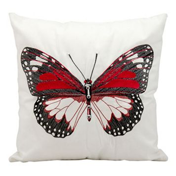 Mina Victory Red Butterfly Outdoor Throw Pillow