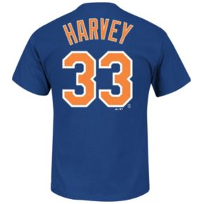 Majestic New York Mets Matt Harvey Player Name and Number Tee - Men