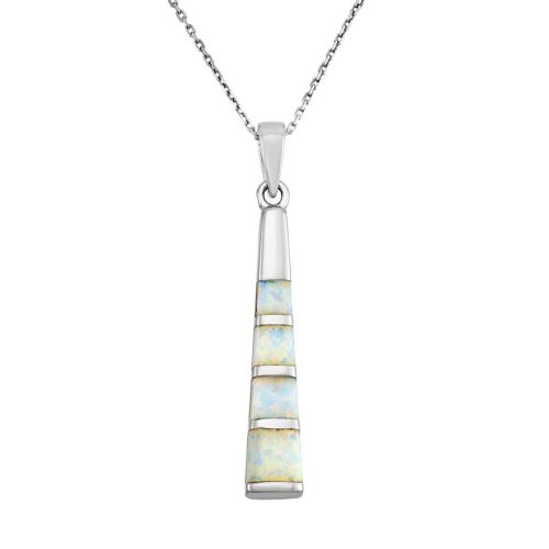 Lab-Created Opal Sterling Silver Stick Pendant Necklace