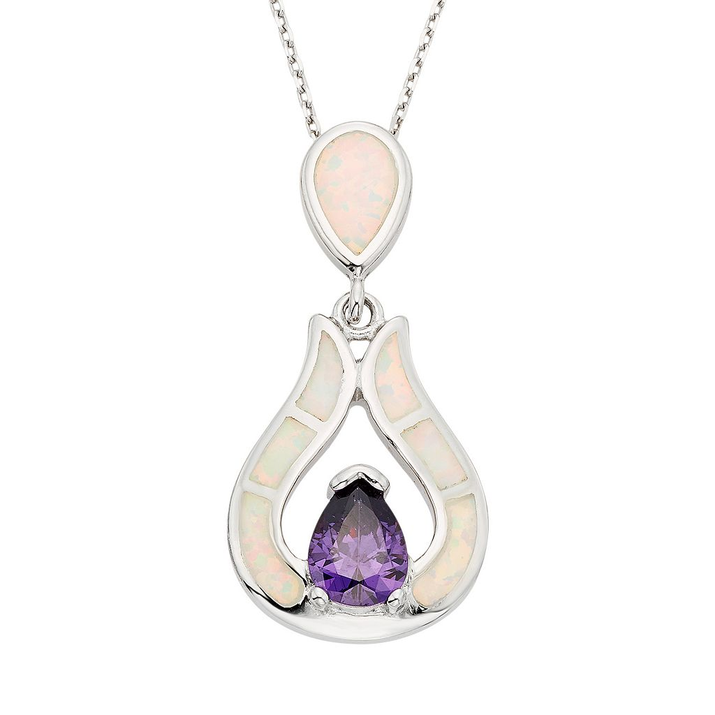 Lab-Created Opal & Cubic Zirconia Sterling Silver Teardrop Pendant Necklace