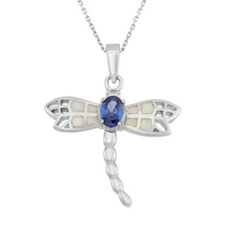 Lab-Created Opal & Cubic Zirconia Sterling Silver Dragonfly Pendant Necklace