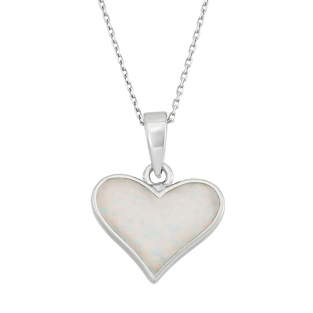 Lab-Created Opal Sterling Silver Heart Pendant Necklace