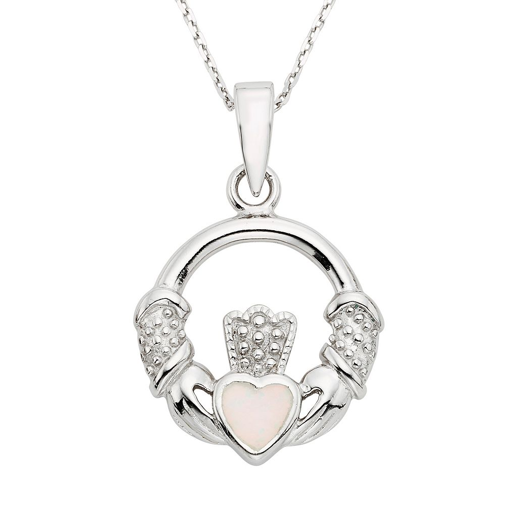 Lab-Created Opal Sterling Silver Claddagh Pendant Necklace