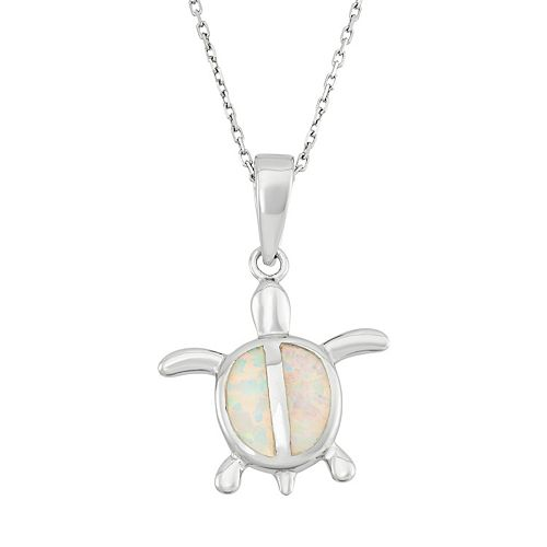 Lab-Created Opal Sterling Silver Turtle Pendant Necklace