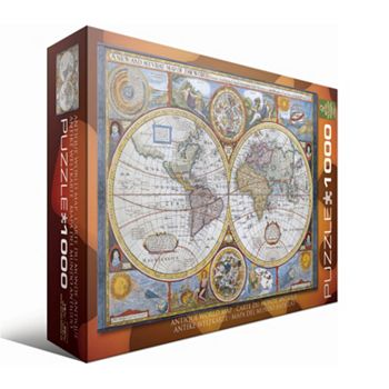 Antique World Map Puzzle.Eurographics 1000 Pc Antique World Map Jigsaw Puzzle