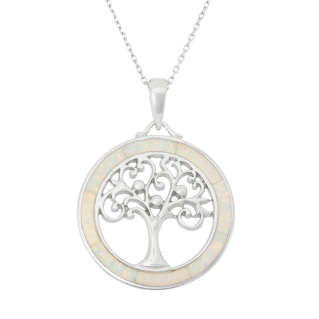 Lab-Created Opal Sterling Silver Tree of Life Pendant Necklace