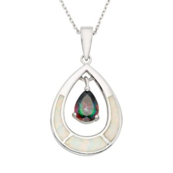 Cubic Zirconia & Lab-Created Opal Sterling Silver Teardrop Pendant Necklace