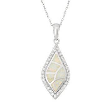 Lab-Created Opal & Cubic Zirconia Sterling Silver Mosaic Marquise Pendant Necklace